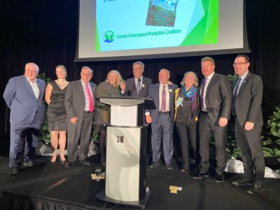 On stage: Councillor Allan Hubley, Councillor Jenna Sudds, Councillor Eli El-Chantiry, KGPC Chair Barbara Ramsay, Ottawa Mayor Jim Watson, Wesley Clover International Chairman Terry Matthews, Diana Beresford-Kroeger, Former Ottawa Senators Captain Daniel Alfredsson, Councillor Glen Gower